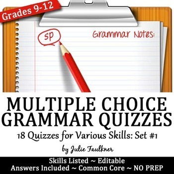 Entire Semester of Weekly Grammar Quizzes {ACT, EOC, Test Prep} Mixed Skills