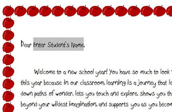 Quick-n-Easy Elementary Student Welcome Letter