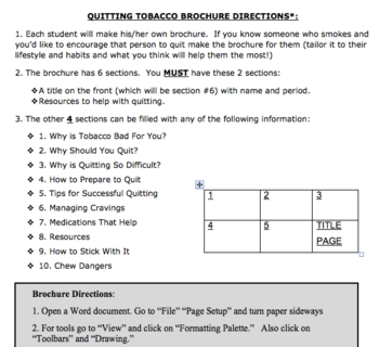Quit Smoking Lesson-PowerPoint w/ Project and 8-page Resea