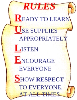 RULES POSTER with a Social Studies Theme