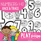 Race and Trace Worksheets - Numbers to 10 - Spin, Read and Write
