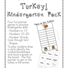Race to the Turkey!  Kindergarten Pack