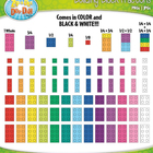 Rainbow Building Block Fractions Clip Art — Over 75 Colorf