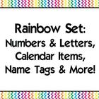 Rainbow Classroom Set 2 {Alphabet, Numbers, Name tags, Cal