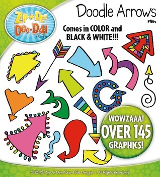 Rainbow Doodle Arrows Clip Art Set — Includes 150 Graphics!