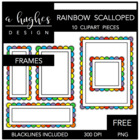 Rainbow Scalloped Frames {Graphics for Commercial Use}