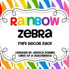 Rainbow Zebra Mini Decor Pack