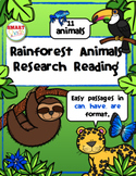 Rainforest Animals Research Reading