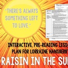 Raisin in the Sun pre-reading lesson plan w/ worksheet & a