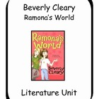Ramona's World by Beverly Cleary Literature Unit