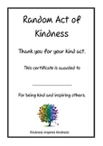 Random Act of Kindness Certificate