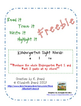 Read It, Trace It, Write It, Highlight It:  Kindergarten S