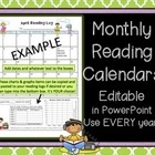 Reading Calendars for Homework ~ Editable in PowerPoint &