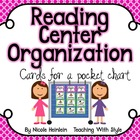 Reading Center Organization Cards - Pink and Green