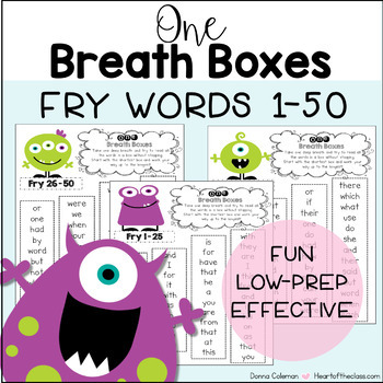 Reading Fluency One Breath Boxes - Fry Words 1-50