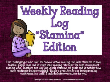 Reading Log Stamina Edition