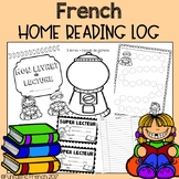 Reading Log booklet French at-home daily reading