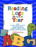 Reading Logs Thru the Year - with Editable Parent Tips Blocks!