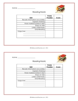 Reading Rubric Record - Individual Student