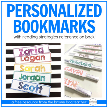 Reading Strategies Bookmarks: Personalized Freebie