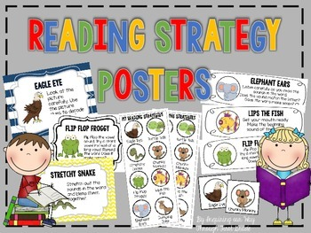Reading Strategies Posters, Bookmarks, and Student Cards