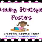 Reading Strategy Posters - Black and White Polka Dot with Pink