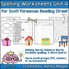 Reading Street Grade 1 Supplemental Spelling Worksheets Unit 4