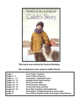 Reading Worksheets for Caleb's Story,  a book by Patricia