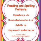 Reading and Spelling Patterns  (er/ir/ur, -le, long o and