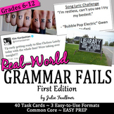 Grammar Game {Real World Grammar Fails} Task Cards Workshe
