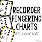 Recorder Fingerings with Cute Polka Border and Doodle Frame