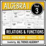 Relations & Functions - Notes, Homework, Quizzes, and Test