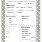 Reource Room Organization Packet {Data Sheets, IEP Info, C