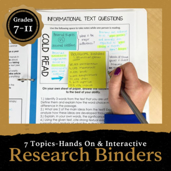 Research Binder Projects: 170 pages of Common Core Aligned materials