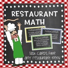 Restaurant Math Task Cards