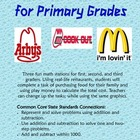 Restaurant Math for Primary Grades