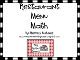 Restaurant Menu Math with Activity Cards and Answer Key