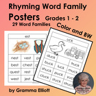 Rhyming Word Family Posters - 29 Word Families - Grades K-1-2