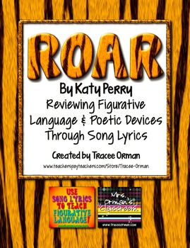 """Roar"" By Katy Perry Figurative Language & Poetic Devices Practice"