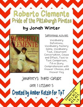 Roberto Clemente Supplemental Activities 3rd Grade Journeys Unit 1, Lesson 5