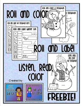 Roll, Color, Read, and Label the Snowman