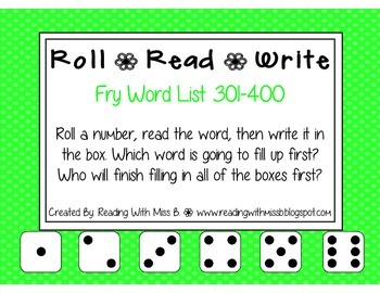 Roll Read Write --> (301-400 Fry List Sight Words/High Fre