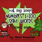Roll, Say, Keep {Numbers 1-100 and Sight Words} Christmas