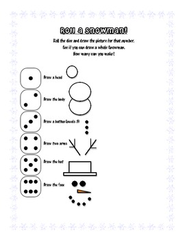 Roll a Snowman Worksheet