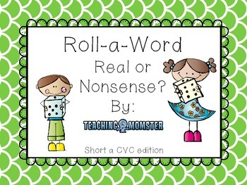 Roll-a-Word Literacy Center Short a CVC words