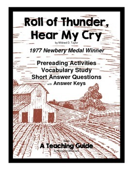 Roll of Thunder, Hear. . .  Prereading/Vocabulary/Short Answer
