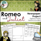 Romeo and Juliet - Newspaper Project / Creative Writing /