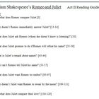 Romeo and Juliet Reading Guide for Act II