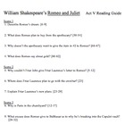 Romeo and Juliet Reading Guide for Act V