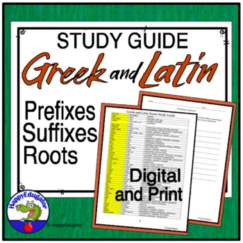 Roots with Meaning and Example Words Handout
